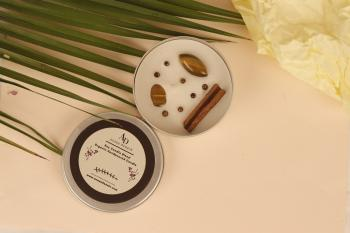Good Fortune Vegan Soy Candle Cinnamon & Tiger Eye Tin Candle