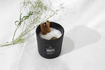 Cinnamon & Tiger Eye infused Black Matte Finish Soy wax with Jasmine & Sandal Candle