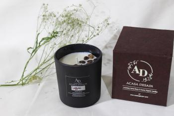 French Brewed Coffee Beans infused Black Matte Finish Soy wax with Coffee Aroma Candle