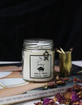 Taurus Zodiac Black or Rose Gold plated Ambitious charm  Aroma Soy Candle