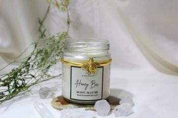 Honey Bee Aroma Soy Jar Candle from Wildlife Collection (Black/ Gold / Rose Plating)