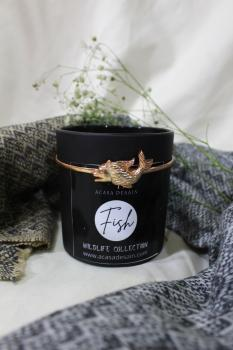 3D Fish Aroma Soy Black Matte Candle from Wildlife Collection (Black/ Gold / Rose Plating)