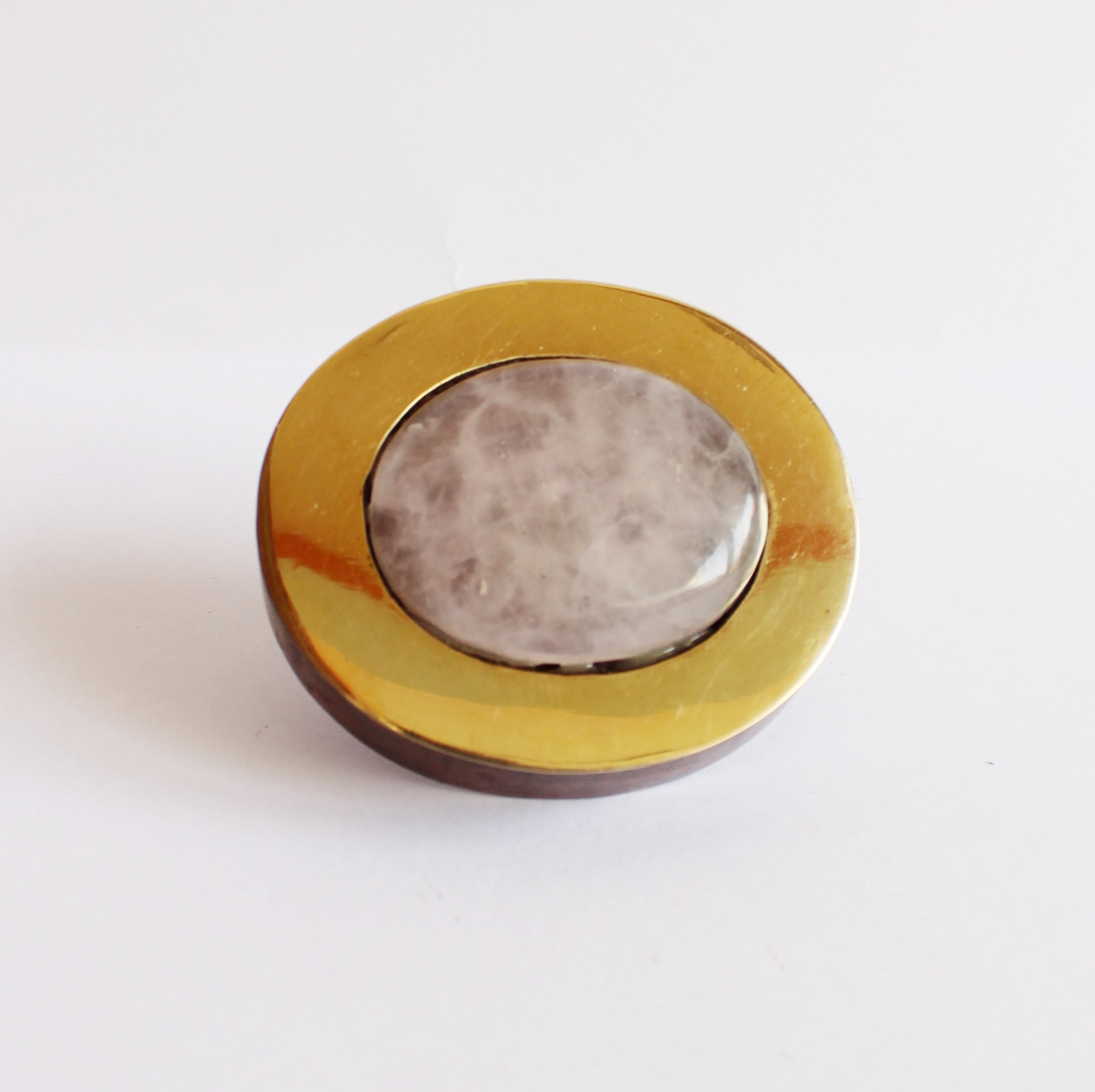 Oval wooden knob with brass with Rose quartz