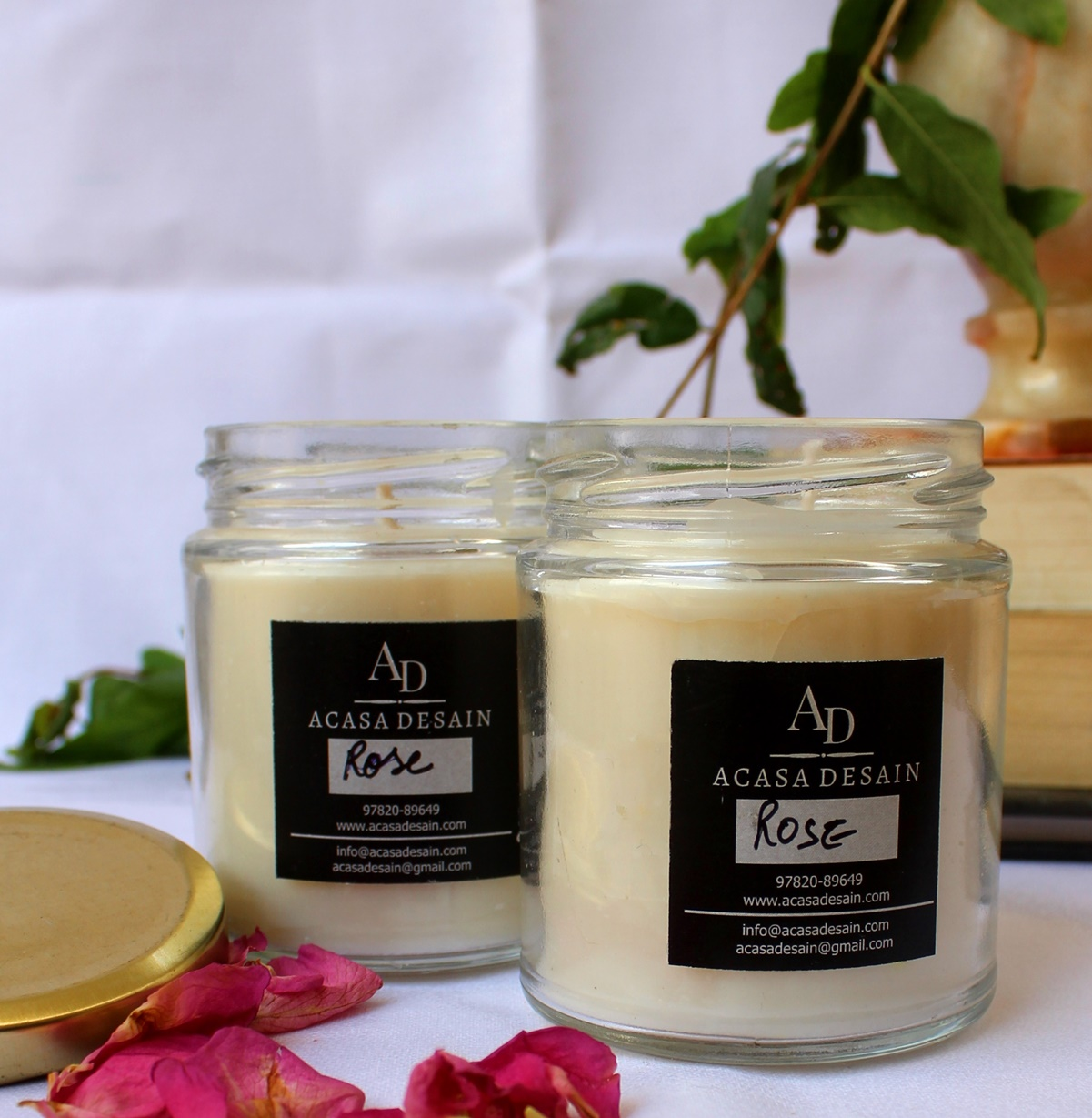 Set of 2 Fresh Rose Soy wax Aroma Jar Candle
