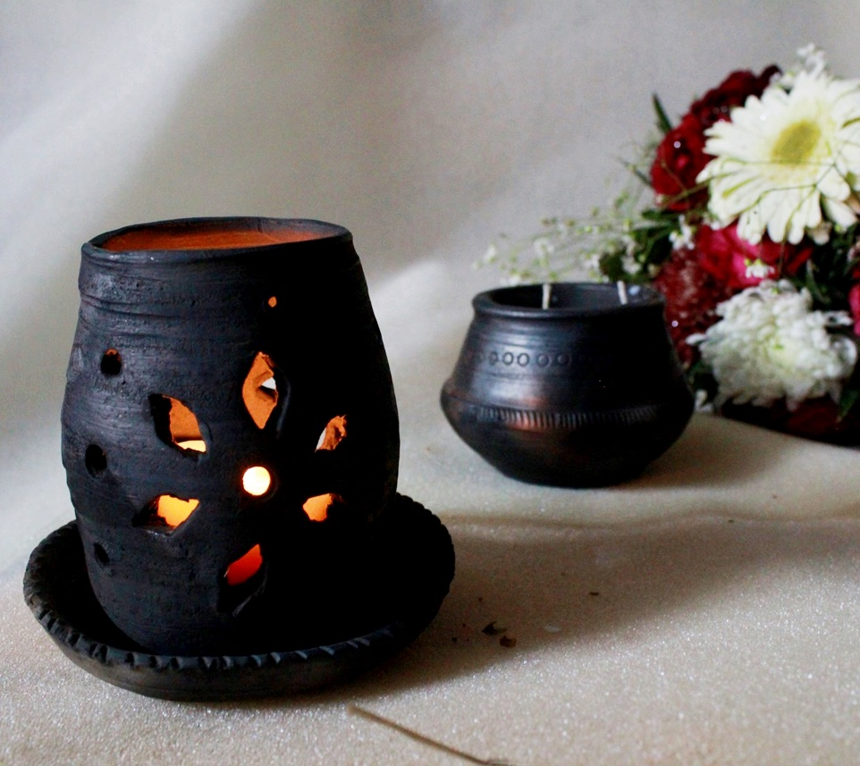 Handmade Black Unglazed Terracotta Diffuser Lamp - With 2 inch candle
