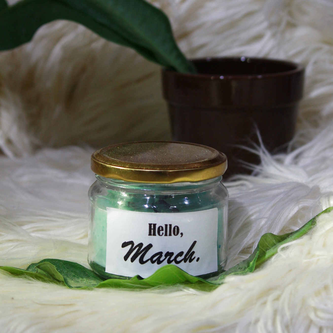 Hello March- Sea Green - MESSAGE PERSONALIZED SOY AROMA CANDLE