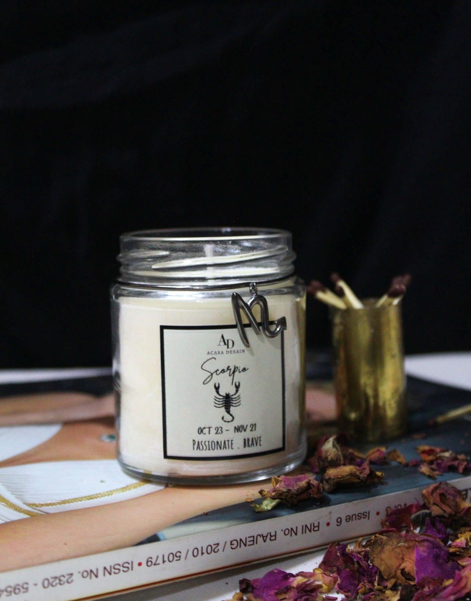 Scorpio Zodiac Black or Rose Gold plated passionate trait charm Aroma Soy Candle